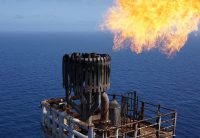 Drone view of oil rig flare
